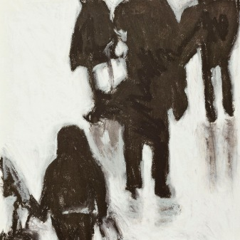 Crowd Series #4 - oil pastel on paper, 11 x 11