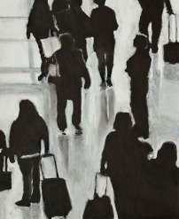 Crowd Series #5 - oil pastel on paper, 14 x 17