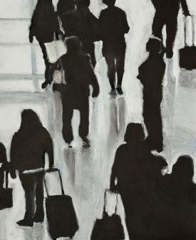 Crowd Series #5 - oil pastel on paper, 14 x 17