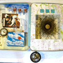 Hotel Eden, suitcase, found objects, acrylic, 32 x 24 (unavailable)