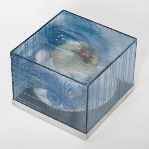 "iTea, kilnformed glass, aluminum, tea cup and saucer, 4 1/2"" x 6"" x 6"", 2015."