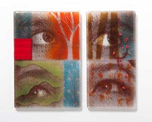 """Newsfeed, kilnformed glass, 12"""" x 10"""", 2014"""