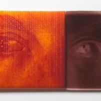 """Broken Gaze, kilnformed glass, 17"""" x 8"""", 2014"""