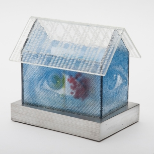 """Homepage, kilnformed glass and aluminum, 5 3/4"""" x 6"""" x 4"""", 2014"""