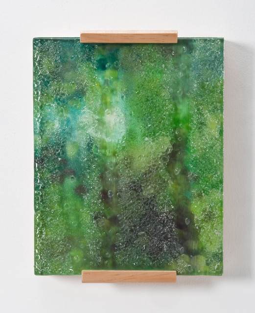 """Condensation #6, 8"""" x 10"""", oil, wood, and kiln-glass on board."""