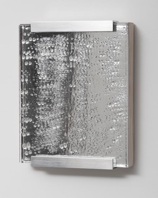 """Likeness, 8"""" x 10"""", mirror, aluminum, and kiln-glass on board."""